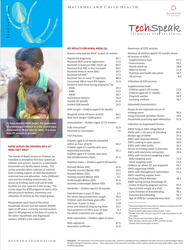 Rapid Survey On Children 2013-14 India Fact Sheet
